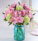 Splendid and Sweet Pink Flowers in Mason Jar Vase