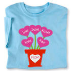 Personalized Mother's Day Heart Flower Pot T-Shirt