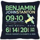 New Baby's Birth Announcement Airplane Pillow in Black