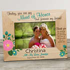 Bridesmaid's Personalized Flower Wooden Picture Frame