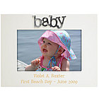 White Wood and Metal Baby Photo Frame