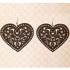 Wooden Filigree Heart Earrings