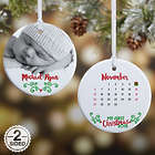 Baby's 1st Christmas 2-Sided Calendar and Photo Ornament