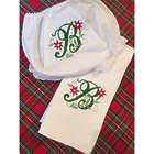Embroidered Initial Holiday Burp Cloth and Bloomer Set