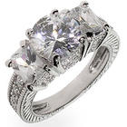 Sparkling Sterling Silver Three Stone Right Hand Ring