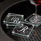 Engraved Initial Glass Coasters
