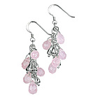 Silver and Rose Quartz Beaded Earrings