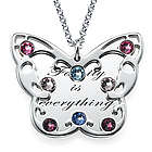 Mom's Engraved Butterfly Necklace with Birthstones