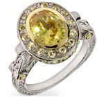 Designer Inspired Oval Cut Canary CZ Vintage Style Ring
