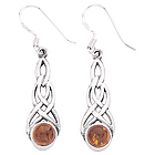 Celtic Amber Silver Earrings
