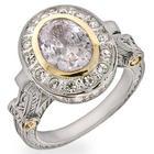Designer Inspired Oval Cut Diamond CZ Vintage Style Ring