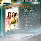 Personalized 5x7 Sisters Heartstrings Beveled Glass Frame