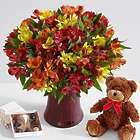 200 Blooms of Autumn Peruvian Lilies with Vase, Bear & Chocolates