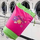 Peace and Flowers Personalized Girl's Laundry Bag