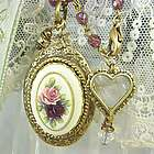 Antiqued Replica Brass Vintage Rose Cameo Locket Necklace