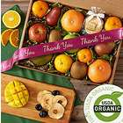 Organic Fresh and Dried Fruit Gift Box with Thank You Ribbon