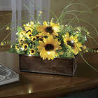 Sunflower Lighted Florals in Metal Display Tin