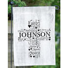 Personalized Religious Word-Art Cross Garden Flag