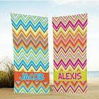 Personalized Sun Kissed Chevron Beach Towel