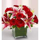 Medium Modern Embrace Red Rose and Lily Cube