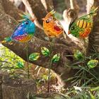 3 Colorful Glass Bird Garden Stakes