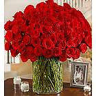 100 Premium Long Stem Red Roses in Vase