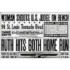 Babe Ruth 60th Home Run Historic Replica Newspaper