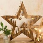 Large Wooden Lighted Christmas Table Star Decoration