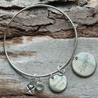 Personalized Divorced and Happy Wire Bangle Bracelet