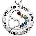 Personalized Heart in Heart Birthstone Necklace for Moms