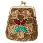 Embroidered Coin Purse in Gold