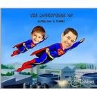 Super Dad with Super Kid Custom Caricature Art Print
