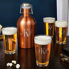 Classic Pint Glasses and Growler with Personalized Monogram