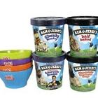 Ben & Jerry's 4 Pints of Ice Cream & Bowls