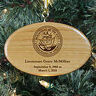 Engraved Navy Memorial Wooden Oval Ornament