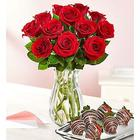 Red Roses with Chocolate Covered Strawberries