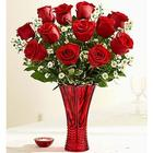 Valentine's Day Rose Romance in Red Vase