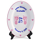 Personalized Oval Girls Birth Plate with Footprints
