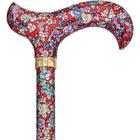 Royale Red Floral Designer Adjustable Cane with Tripod Base