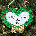 Heart Wreath Two Names Engraved Christmas Ornament