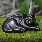 Lazy Black Cat Wood Sculpture