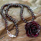 Natural Rose and Garnet Flower Necklace