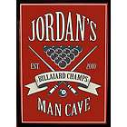 Personalized Billiards Champ Man Cave Wood Bar Sign