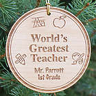 Personalized Teacher Christmas Wood Ornament