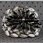 Dazzling Star Burst Jeweled Hinged Metal Bracelet