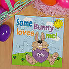Some Bunny Loves Him Personalized Square Shaped Easter Puzzle