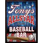 Personalized All Star Baseball Wood Bar Sign