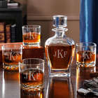 Personalized Draper Liquor Decanter Set with Whiskey Glasses