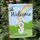 Easter Bunny Rainbow Personalized Garden Flag