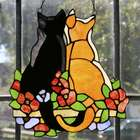 Stained Glass Cuddling Cats Window Panel